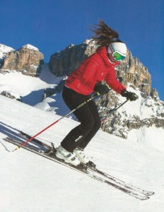 A skier in a neutral position at the Sassolungo, Dolomites Italy. Photo courtesy www.dolomitesskitours.com.au