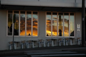 Awaba Cafe. Balmoral. Early winter, Picaninny daylight reflected ion the windows of the still silent cafe. Photo: Jon Attwater AttwaTERhoto : J