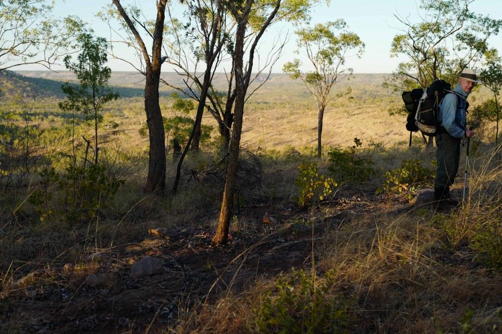 On the march - day 4. The southern flank of the Arnhem Land escarpment is about 25m behind me. Beyond that the spectacular 17 Mile River valley opens out. Light spear grass savannah woodland typical of this part of northern Australia