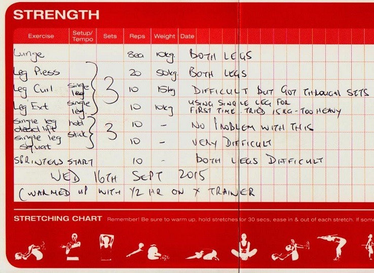 An exercise log from the Virgin gym in Sydney