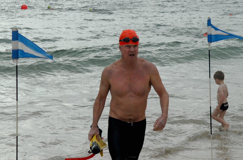 Finishing the 2km swim at Balmoral with flippers and snorkel in hand. I was happy just to be able to participate