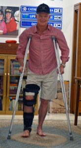 A trip down memory lane. I try out crutches and leg brace on the first anniversary of breaking my leg in Canada