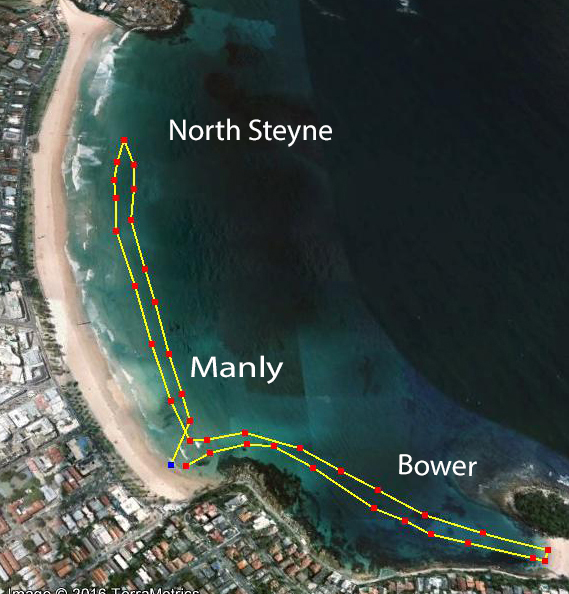 Doubling up - Manly to Shelly return and then to North Steyne and return. 3.2kms before work on a warm, calm day