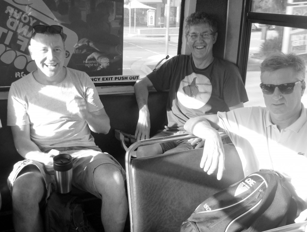 Stalwarts at the back of the bus: Andy Bremmner, Barry Feyder, Dave Healy