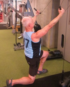 Lunges on the Kinesis machine. Keeping a straight back and head up is critical on all these types of exercises