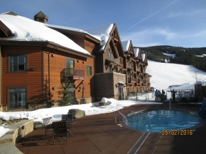 Ski in entrance at rear of hotel showing hot tub. Big Sky