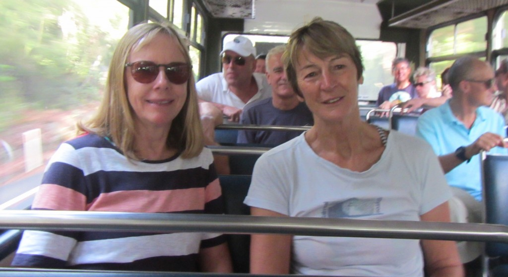 My great pals, Marg Carney and Denise Elder in the bus on the way to Palm Beach