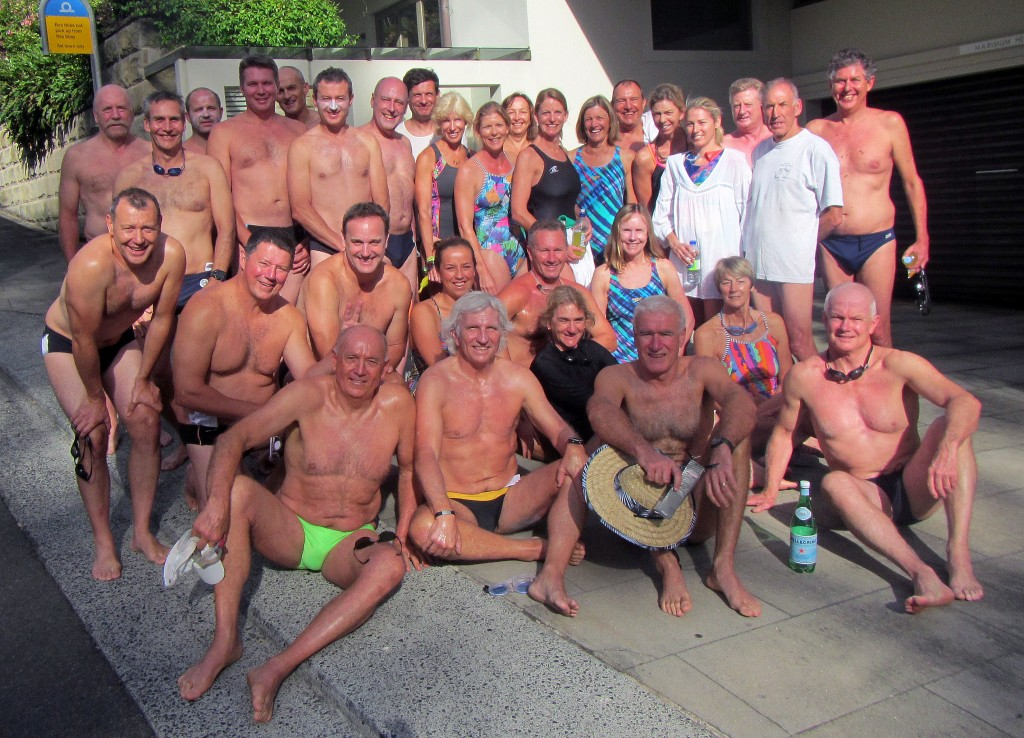 The crew from Balmoral Beach Club, all togged up, at Palm Beach waiting for the swim around to Whale Beach, one of the oldest and most iconic ocean swims in Australia. It was my 15th entry in the swim.