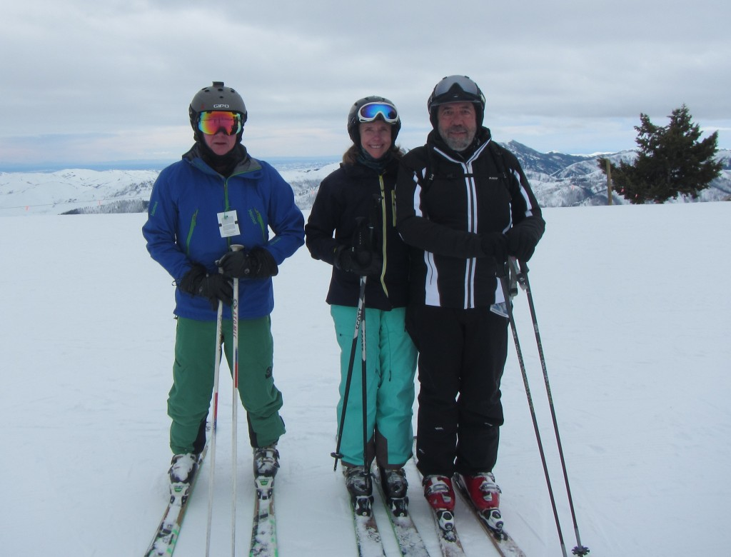 With my great buddies Margaret Carney and Rick Ayish at the top of Seattle Ridge, Sun Valley. I was in so much pain by this stage I couldn't put any weight on my leg and had to pack it in shortly thereafter. I had great difficulty skiing down the mountain as I could only turn to one side.